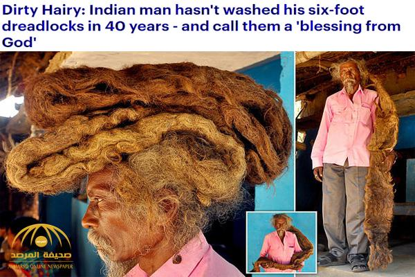 """شاهد .. هندي غريب لم يقص شعره منذ 40 عاماً  : """" الله زارني في المنام وطلب مني عدم قصه"""" !"""