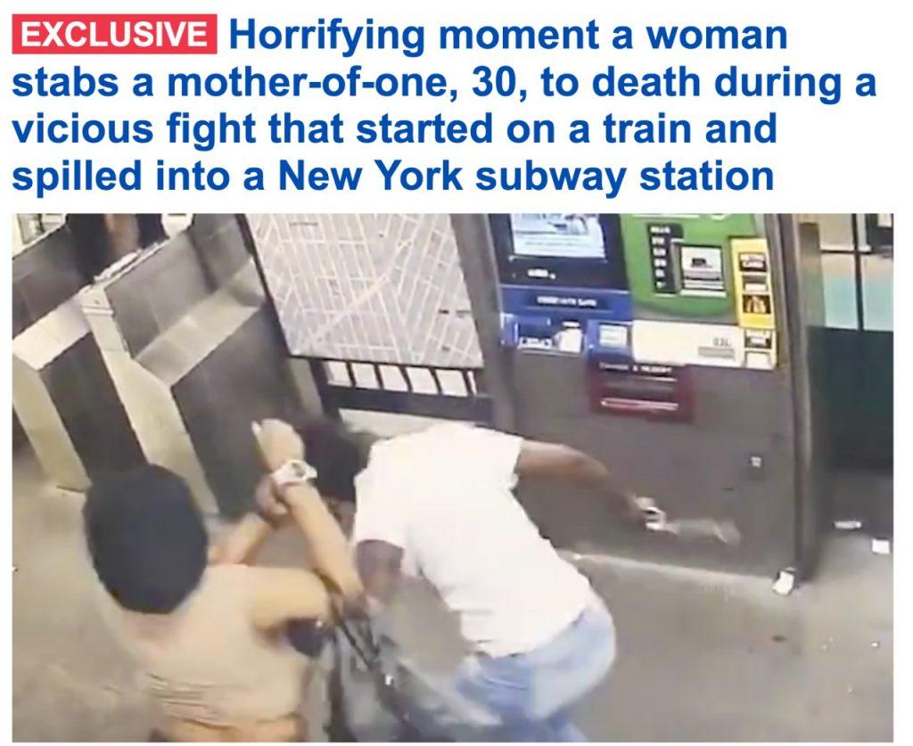 خلال مشاجرة عنيفة .. شاهد : امرأة تسدد طعنات قاتلة لأخرى في محطة مترو بنيويورك