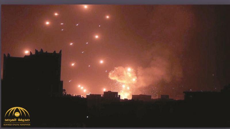 """حول ليل صنعاء إلى نهار.. شاهد: """"التحالف"""" يشن غارات غير مسبوقة على مواقع الحوثي!"""