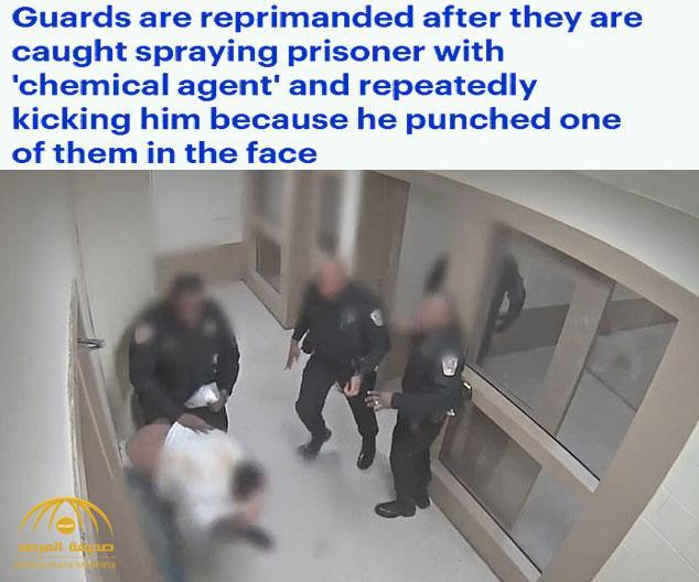 """شاهد .. كيف تعامل  عناصر من الشرطة مع """"متهم""""  اعتدى على ضابط  داخل السجن في أمريكا"""