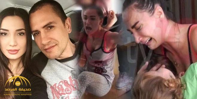 شاهد  صراخ وبكاء زوجة لاعب تركي شهير أثناء حضور الشرطة لأخذ طفليها بالقوة!