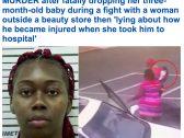 """شاهد.. لحظة سقوط """"رضيع"""" أثناء مشاجرة عنيفة بين والدته وامرأة أخرى فى أمريكا"""