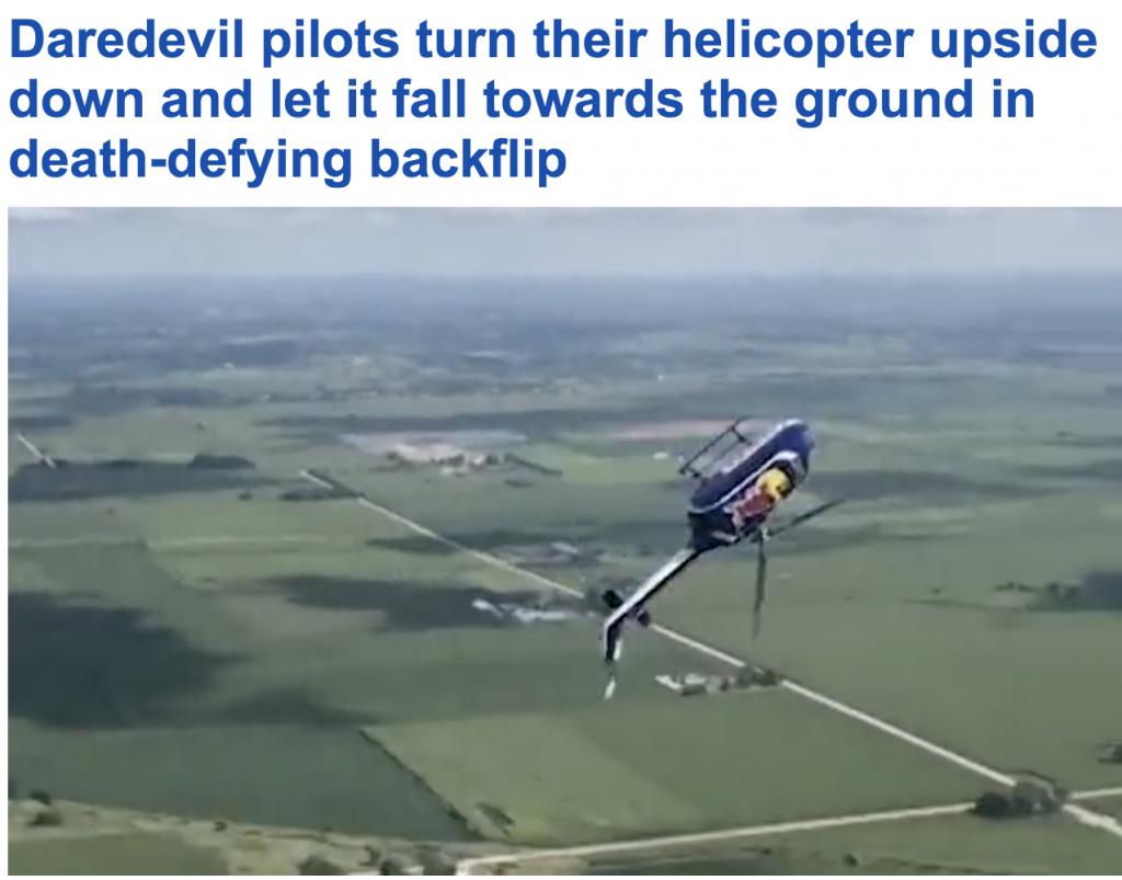 شاهد .. طيار  أمريكي  ينفذ حركة بهلوانية خطيرة بالهليكوبتر !