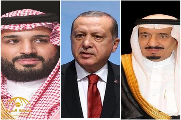 """خادم الحرمين وولي العهد يوجهان تهنئة لـ""""الرئيس التركي"""""""