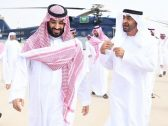 """بالصور: ولي عهد أبو ظبي يغادر جدة.. وولي العهد """"محمد بن سلمان """"في مقدمة مودعيه"""