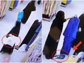 """شاهد : كاميرات المراقبة ترصد حيلة امرأة """"منقبة""""  لسرقة حقيبة في أحد المولات!"""