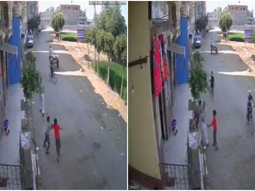 شاهد.. ردة فعل مصري  وجد ابنه  بالصدفة يتشاجر  مع  طفل آخر !