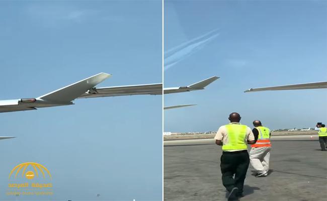 """شاهد أول فيديو لحظة تصادم الطائرتين في مطار جدة و """"انطعاج"""" الجناحين"""