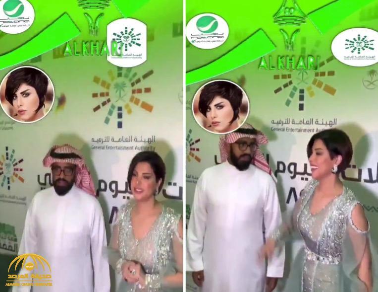 """شاهد.. """"شمس"""" الكويتية تمازح الجمهور السعودي أثناء احتفالات """"اليوم الوطني"""" بالخرج"""