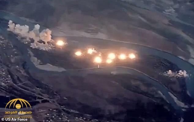 شاهد: مقاتلات أمريكية تُسقط 40 طنًا من القنابل على معاقل داعش في العراق .. وتوثق القصف بمقطع فيديو!