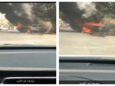 اقتحم بسيارته النار المشتعلة.. شاهد ردة فعل سائق وجد مركبة تحترق بجوار منزل بالمملكة !