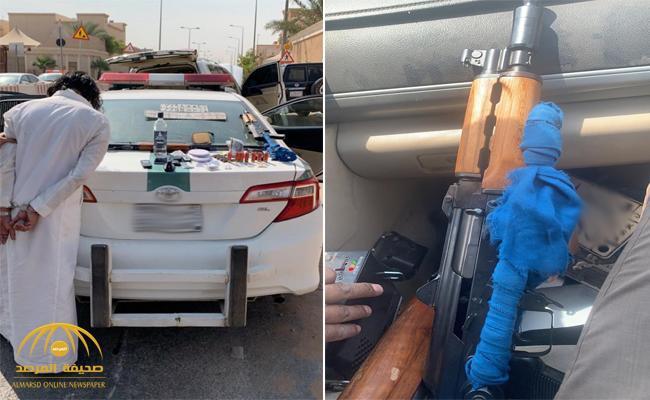 بالصور: القبض على شخص صدم دوريتين وأشهر سلاحه على رجال الأمن .. شاهد: مفاجأة عند تفتيش مركبته!