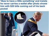 شاهد : ظهور  أوراق مالية  في جيب ترامب الخلفي .. والصحفيون يضطرونه لكشف السبب!
