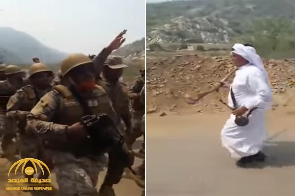 شاهد .. أهالي قرية بعسير يستقبلون جنود مرابطين بالبخور والأهازيج الشعبية والتعشير بالبنادق