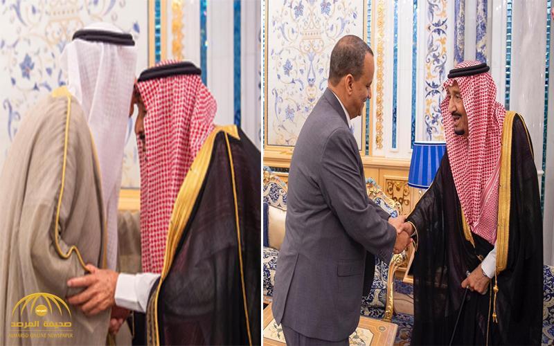 بالصور .. خادم الحرمين يتسلم رسالتين من أمير الكويت والرئيس الموريتاني