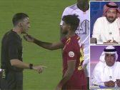 """بالفيديو .. الغشيان يعلق على لقطة لاعب ضمك مع حكم المباراة : """"كأنه يقول انفداك يا حكم"""".. و هكذا رد محمد فودة"""