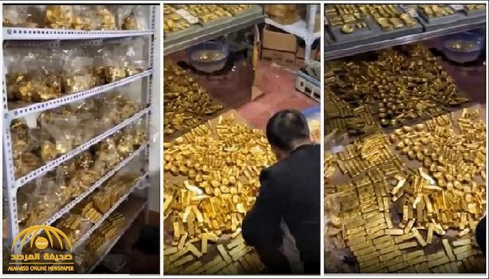 """شاهد"""" كنز ضخم من """"الذهب"""" بقيمة  141 مليار  داخل منزل مسؤول صيني جمعه من عمليات فساد عقارية"""