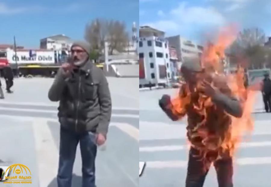 بالفيديو … تركي يضرم النيران بجسدة أمام البلدية وعدسات المصورين بسبب 2000 ليرة !
