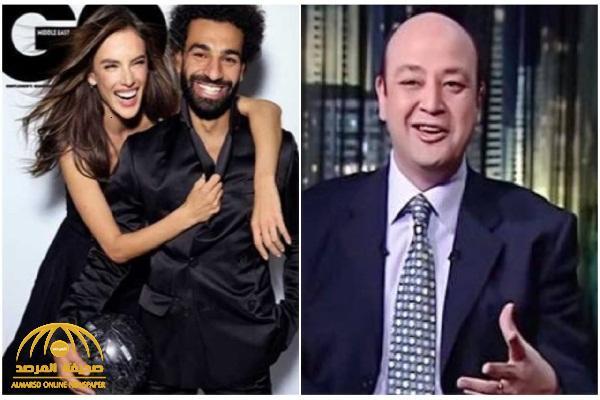 """بالفيديو: عمرو أديب يدافع عن """"صلاح"""" بعد جلسة التصوير مع عارضة حسناء: """" حضن محترم .. واتصور مع صاروخ برازيلي """""""