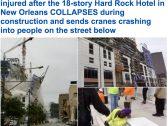 شاهد.. لحظة انهيار فندق وسقوطه على عدد من  المارة في شارع عام بمدينة نيو أورليانز بأمريكا