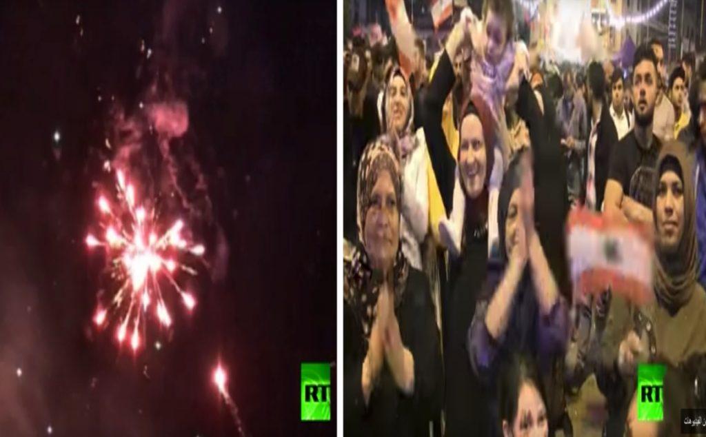 """شاهد.. """"اللبنانيون"""" يحتفلون باستقالة الحريري بالألعاب النارية ورقصات الدبكة"""