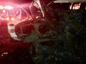 بالصور … وفاة عائلة بالكامل وسائق  في حادث مروع بالمدينة المنورة … تصادم أدى إلى تفحم مركبتين على طريق السلام !