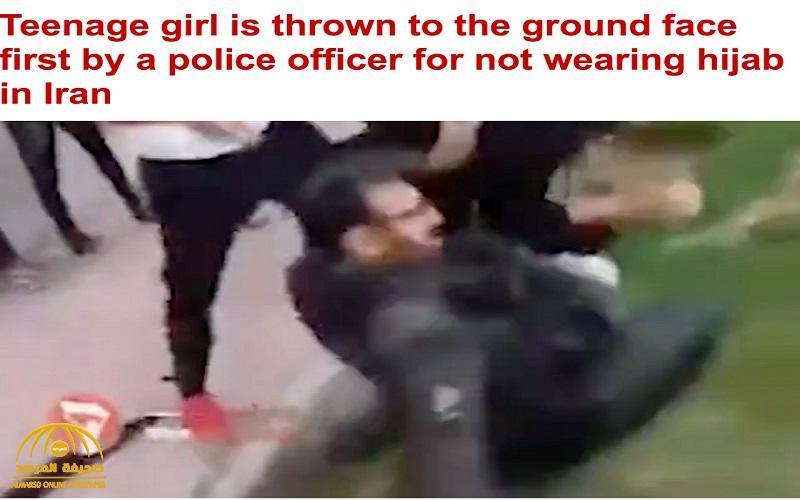 شاهد: رجل أمن  إيراني يضرب فتاة بشكل عنيف لعدم ارتدائها الحجاب – فيديو