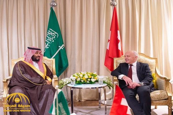 بالصور .. ولي العهد يعقد اجتماعاً مع رئيس الاتحاد السويسري