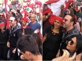 """شاهد: الفنان وائل جسار وزوجته يرقصان """"الدبكة"""" وسط مظاهرات لبنان!"""