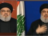 """حسن نصرالله يثير الجدل باستغنائه عن راية """"حزب الله"""" خلال خطابه واستبدالها بعلم لبنان!"""