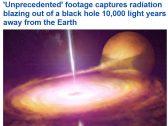شاهد ولأول مرة : إشعاعات هائلة تنبعث من ثقب أسود يبعد ١٠ آلاف سنة ضوئية عن الأرض!