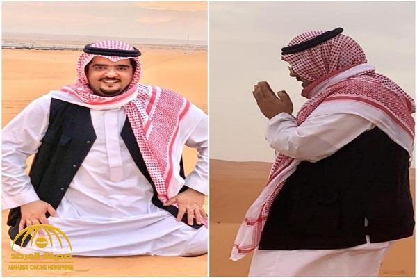 """شاهد: صور جديدة للأمير """"عبدالعزيز بن فهد""""  في نزهة برية ويرفع يديه ابتهالا لله"""