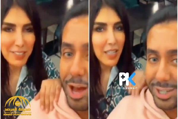 """شاهد: الممثلة البحرينية زهرة عرفات تتحرش بالمذيع الكويتي """"صالح الراشد"""" وتقبله على الهواء"""