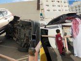 شاهد حادث غريب .. انقلاب 3 سيارات في الطائف بسبب امرأة !