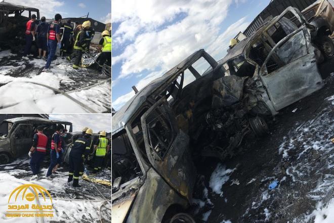 """بالصور: حادث مروع يتحول إلى مأساة وتفحم 4 جثث داخل سيارة """"هايلكس"""" في أبها"""