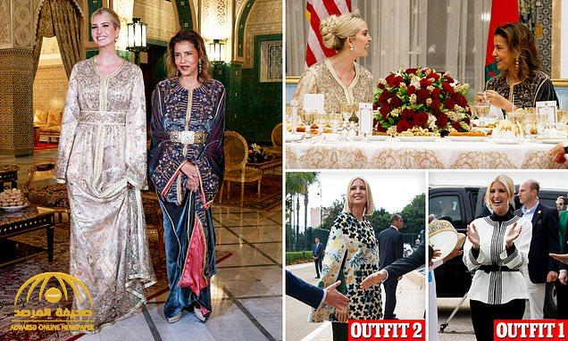 """بالصور : شاهد .. إيفانكا ترامب تخطف الأنظار  بـ""""الزي المغربي"""" وترتدي """"قفطانا"""" أنيقا"""