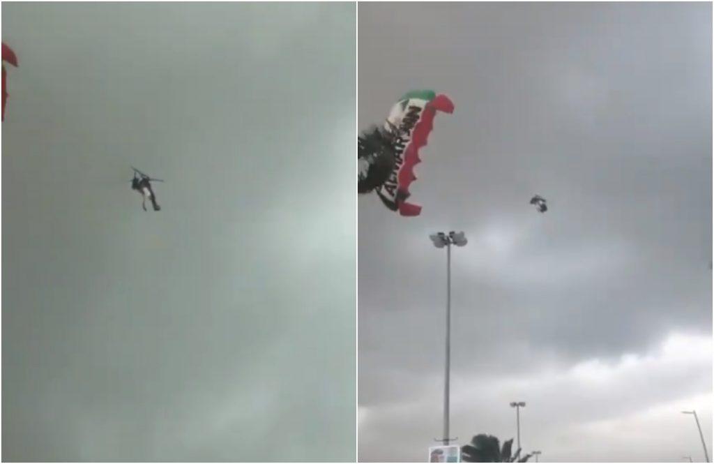 شاهد: شخصان عالقان في الهواء بعد انقطاع حبل مظلتهما بسبب الأحوال الجوية في الإمارات.. والكشف عن مصيرهما!