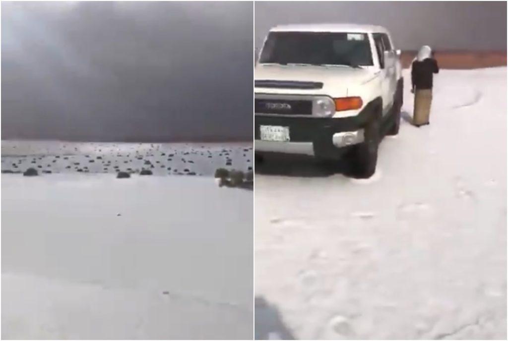 شاهد: تساقط كثيف للثلوج يصبغ منطقة الجوف باللون الأبيض