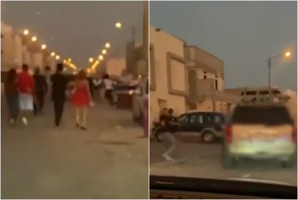 شاهد: مشاجرة بين شباب برفقتهم فتيات يرتدين ملابس سهرة في الكويت!