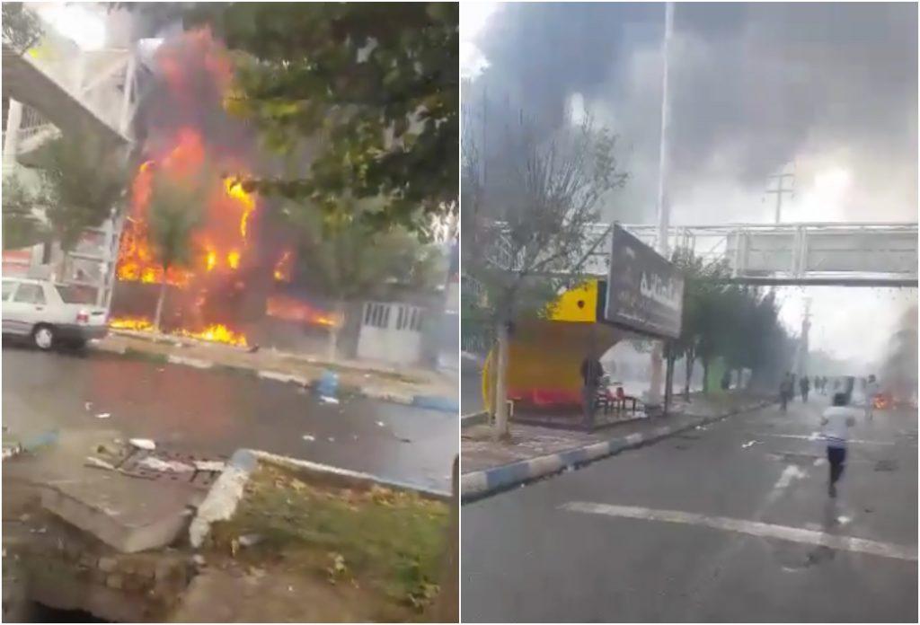 """شاهد: الإيرانيون يواصلون ثورتهم ضد فساد نظام """"آية الله الخميني"""" ويحرقون مبانٍ حكومية بالقرب من طهران!"""