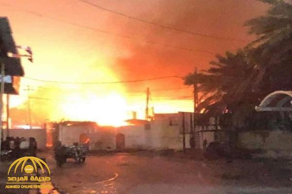 للمرة الثانية .. شاهد : عراقيون يحرقون القنصلية الإيرانية في مدينة النجف