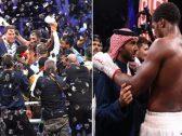 """شاهد.. الأمير عبدالعزيز بن تركي  يتوج الملاكم """"أنتوني جوشوا"""" بطلا  للعالم  بعد فوزه بـ""""نزال الدرعية التاريخي !"""