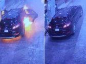بداخلها امرأة .. شاهد: اشتعال سيارة أثناء التزود بالوقود في الرياض
