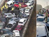 """"""" ليست لقطات مثيرة من فيلم حركة """"… شاهد ما حدث ل 69 سيارة على طريق سريع في الولايات المتحدة !"""