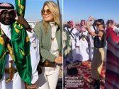"""شاهد .. عارضات أزياء عالميات يرقصن وسط """"عرضة السامري"""" في الرياض"""