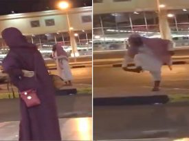 شاهد : واعظ يقذف امرأة بحذائه بسبب كشف وجهها في مكان عام بينبع
