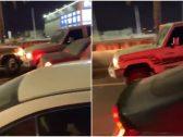 """شاهد : قائد سيارة """"جيب"""" يهرب من رجل مرور ويصدم عدداً من المركبات في حائل.. والكشف عن عقوبته المتوقعة!"""
