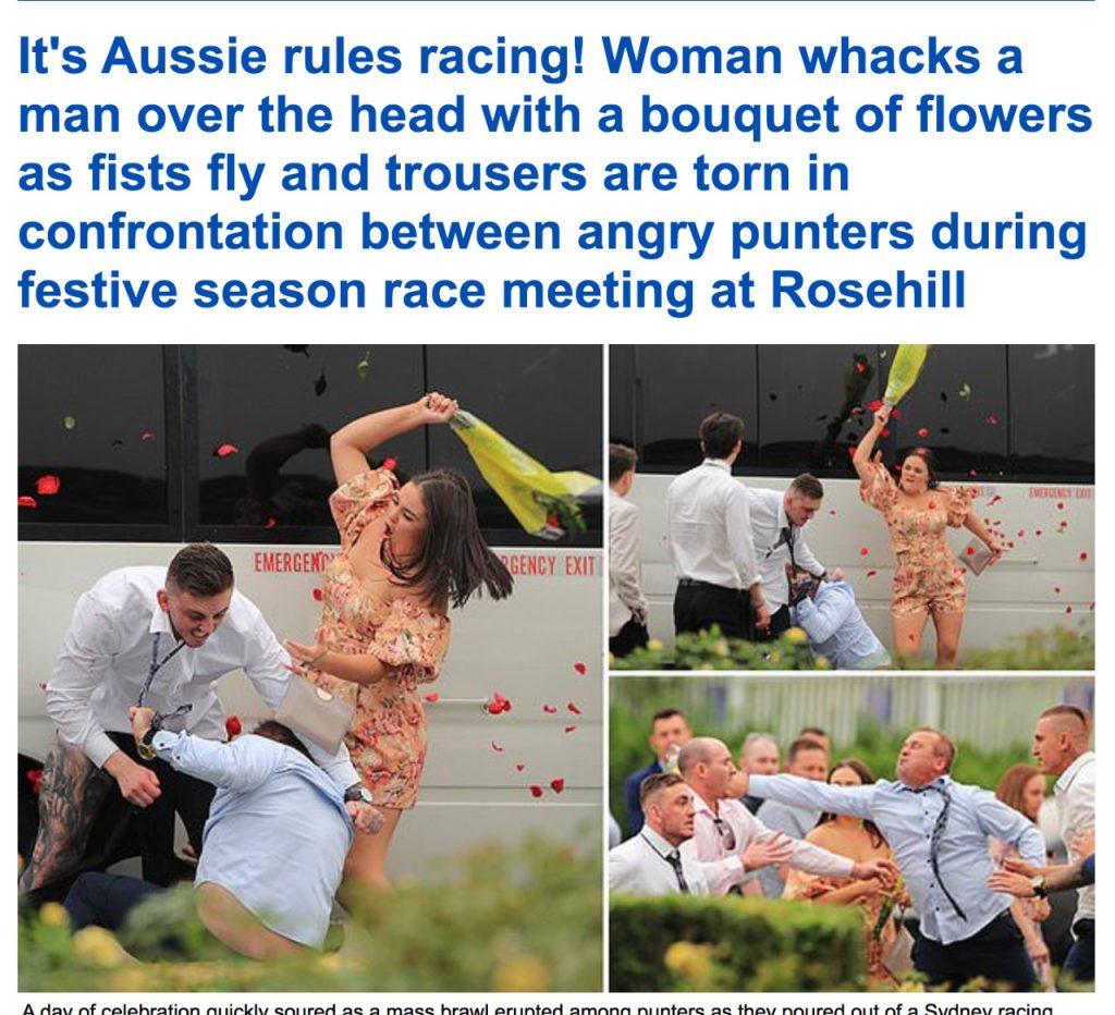 بالصور .. شاهد: سيدة تتدخل لفض اشتباك عنيف بين رجلين مزق أحدهما بنطلون الأخر في سباق للخيول باستراليا!