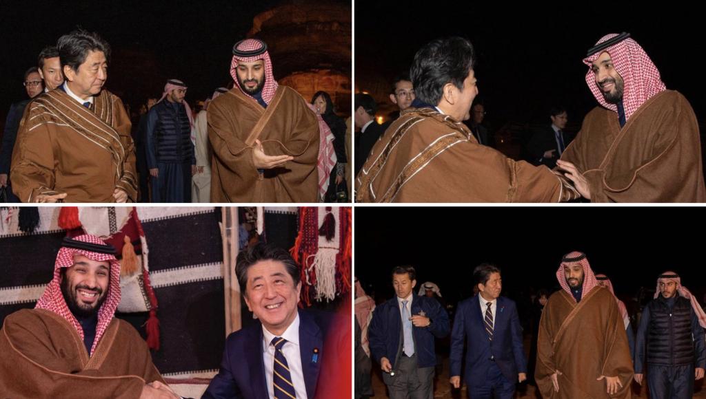 بالفيديو والصور .. شاهد ولي العهد يستضيف رئيس الوزراء الياباني في المخيم الشتوي بالعلا
