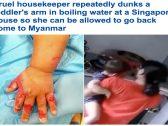 شاهد: كاميرات المراقبة تفضح خادمة تضع يد طفلة في الماء المغلي !